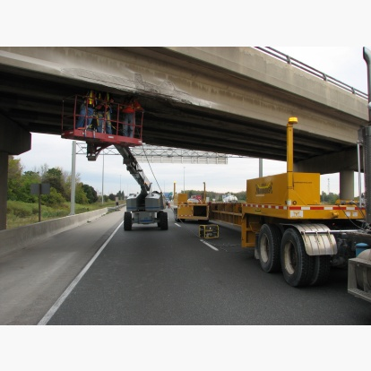 Bridge Beam Repair Workzone with Bucket Crane Protection